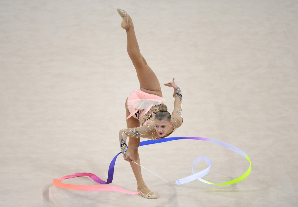 Aleksandra Soldatova finished top of the ribbon qualification standings ©Getty Images