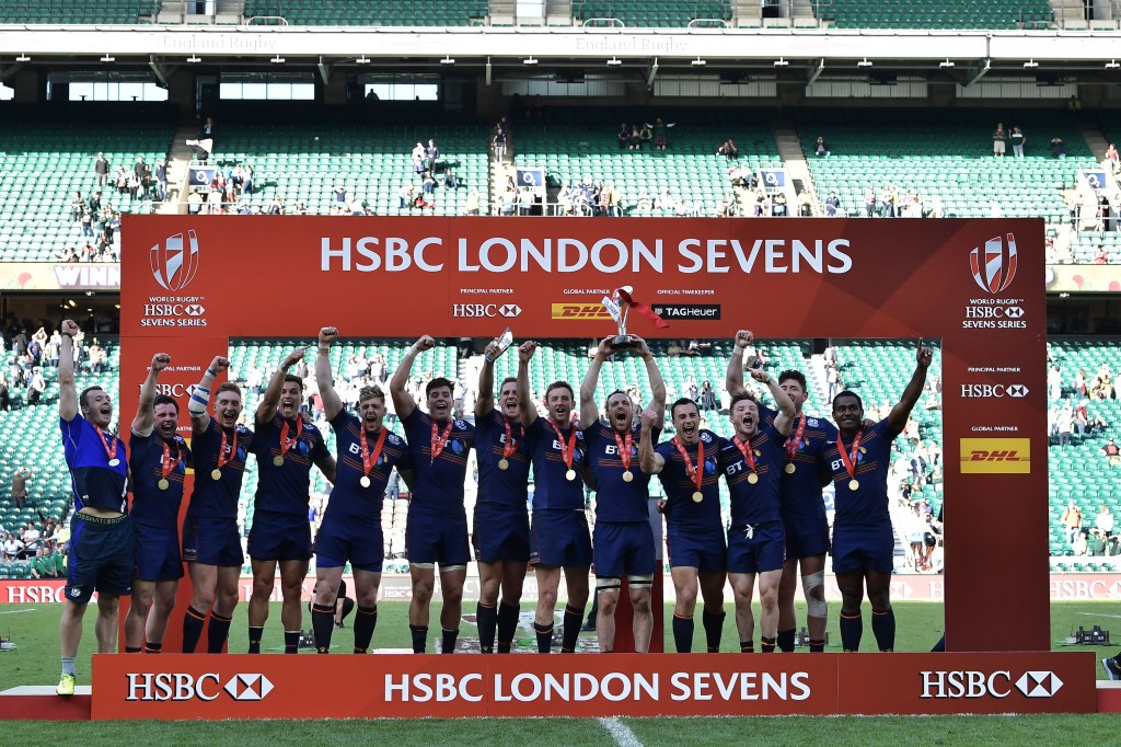 Scotland celebrate after winning the HSBC London Sevens ©Getty Images