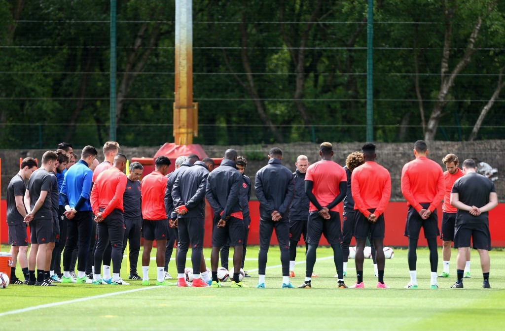 Picture tweeted by Manchester United of their players paying their respects to the people killed during the attack ©Twitter/Manchester United