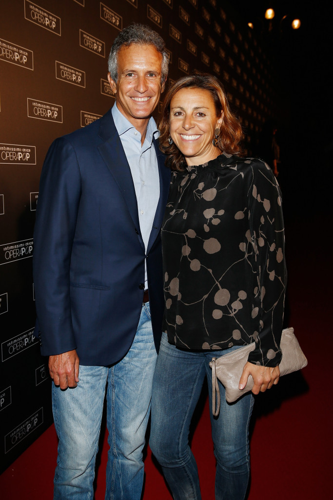 Alessandro Benetton, left, is married to Italian skiing legend Deborah Compagnoni ©Getty Images
