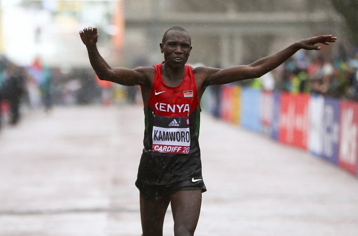 Kenya's Geoffrey Kamworor, pictured retaining his IAAF World Half Marathon title in Cardiff last year