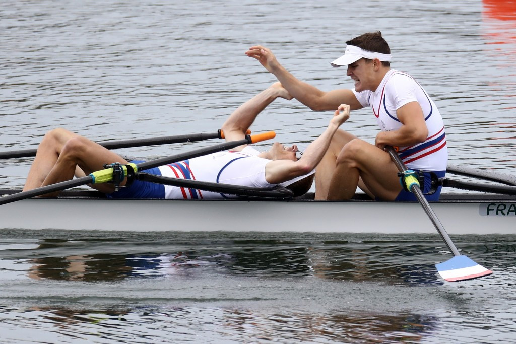 Jeremie Azou and Pierre Houin of France made it through to the final of the lightweight men's double sculls ©Getty Images