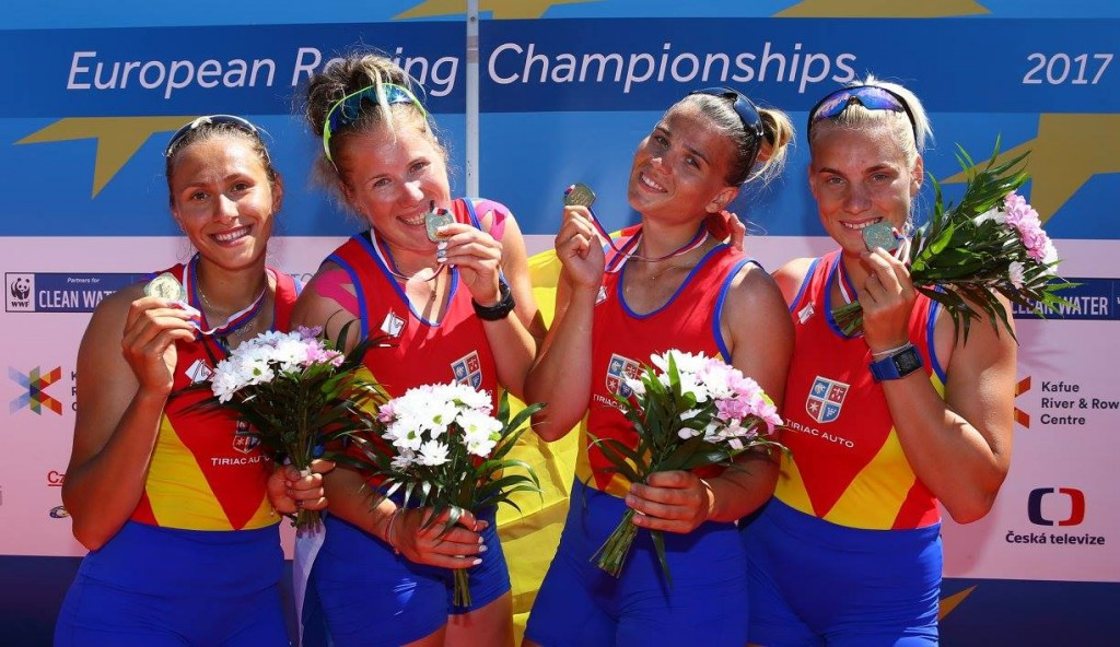 Romania took gold in the women's four competition in Račice ©FISA