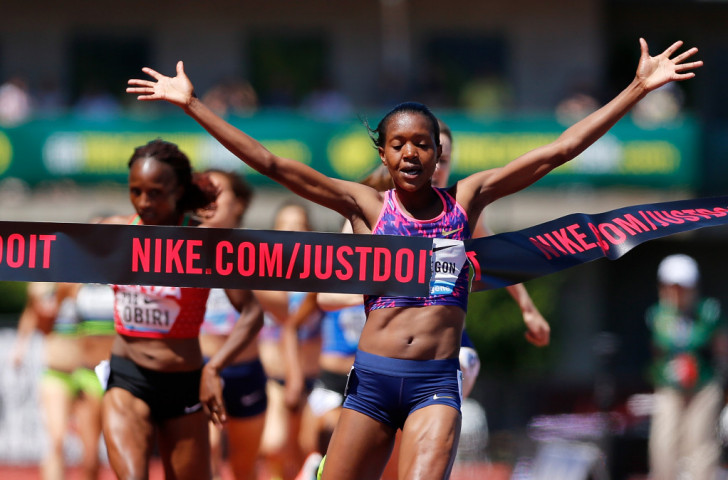 Kenya's Olympic 1,500m champion Faith Kipyegon wins at the Prefontaine Classic in Eugene, Oregon in front of compatriot Hellen Obiri and Britain's Laura Muir ©Getty Images