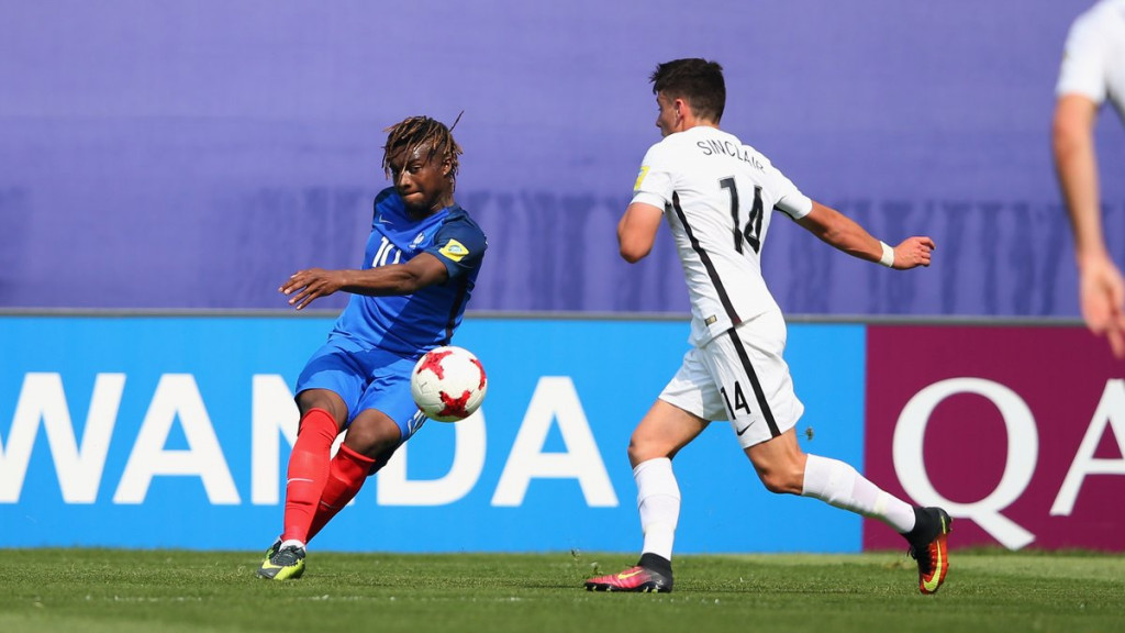 Allan Saint-Maximin, left, scored twice for France in their win over New Zealand ©FIFA/Twitter