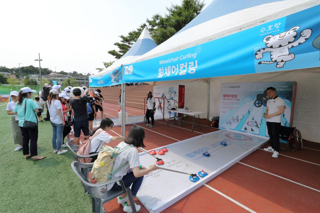 Participants at the Peace Education Festival in South Korea have been given the chance to experience Winter Olympic sports ©Pyeongchang 2018