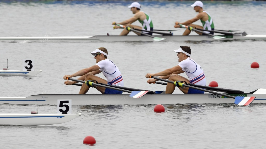 Olympic champions  Jeremie Azou and Peirre Houin of France continued their dominance of the lightweight men's double sculls ©Getty Images