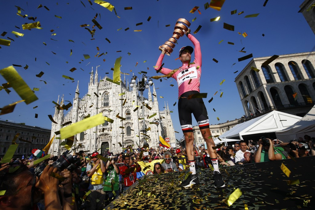 Dumoulin wins centenary Giro d'Italia after overhauling rivals in time trial