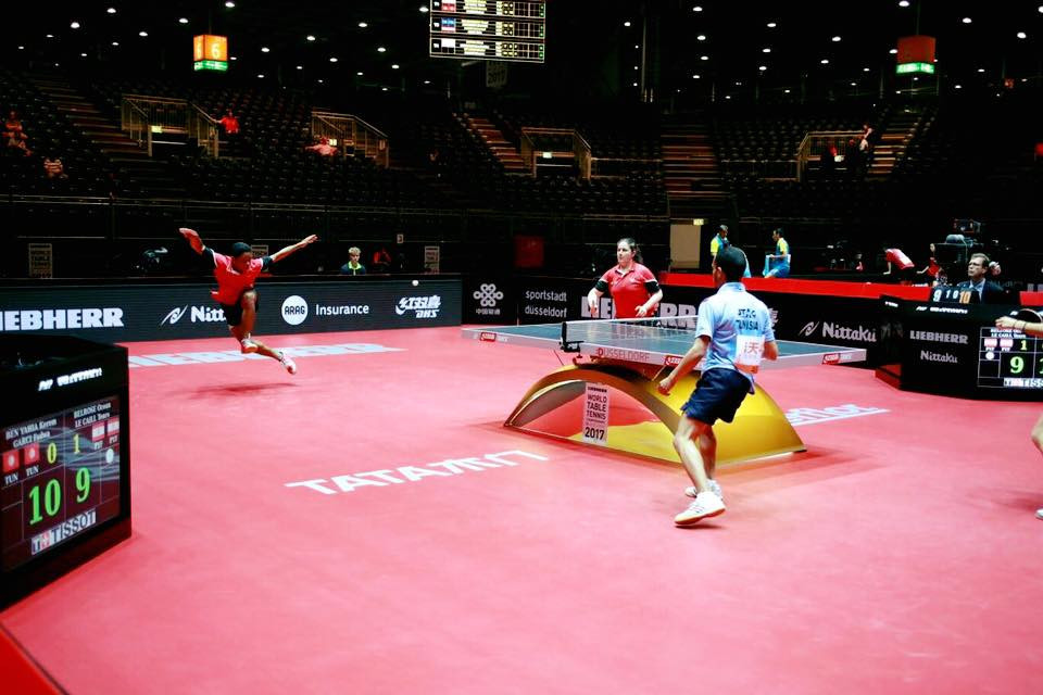 Acrobatic performances in the mixed doubles on the opening day of the World Championships ©ITTF/Facebook
