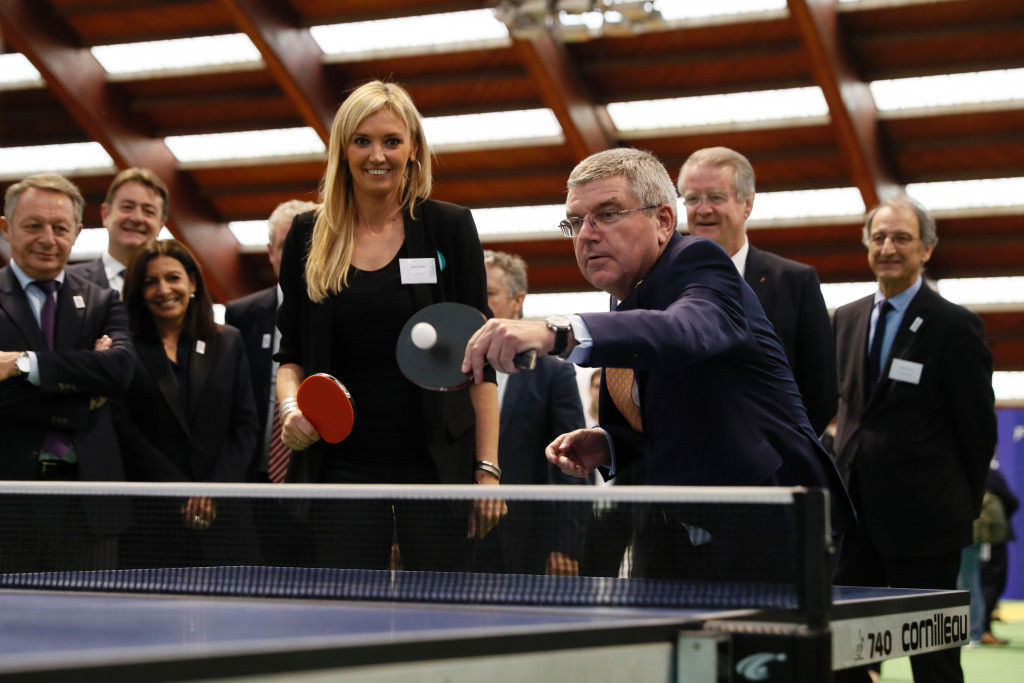 Thomas Bach, pictured playing table tennis Rio 2016, is attending the World Championships in his home country ©Getty Images