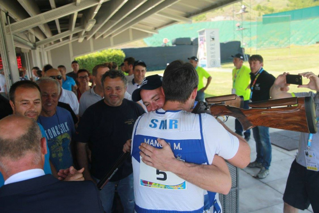 Manuel Mancini delivered home gold for San Marino in the men's trap shooting event ©San Marino 2017 GSSE/Facebook