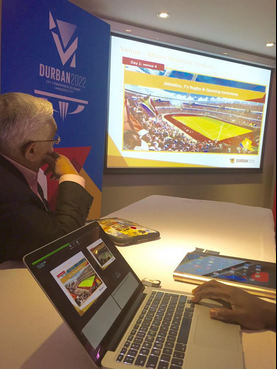 Durban 2022 chairman Mark Alexander showed delegates details of the South African city's bid