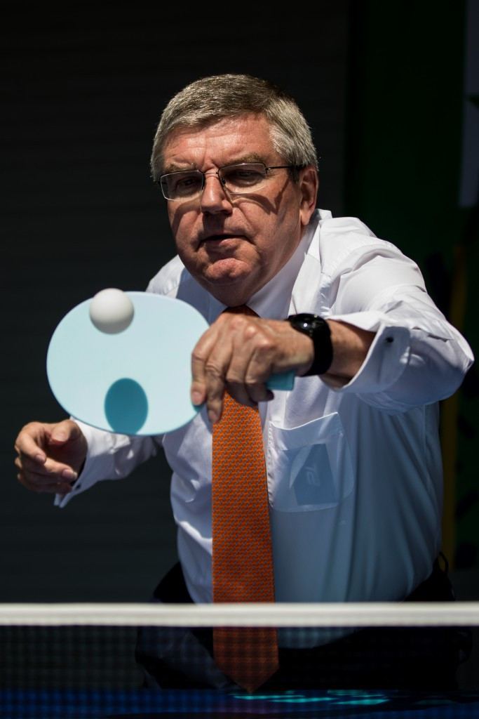 Thomas Bach, pictured attending the World Table Tennis Championships, believes he received unfair criticism in Germany ©Getty Images