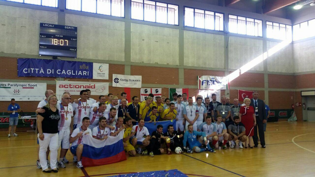 Russia, left, took the bronze medal after beating Spain ©IBSA
