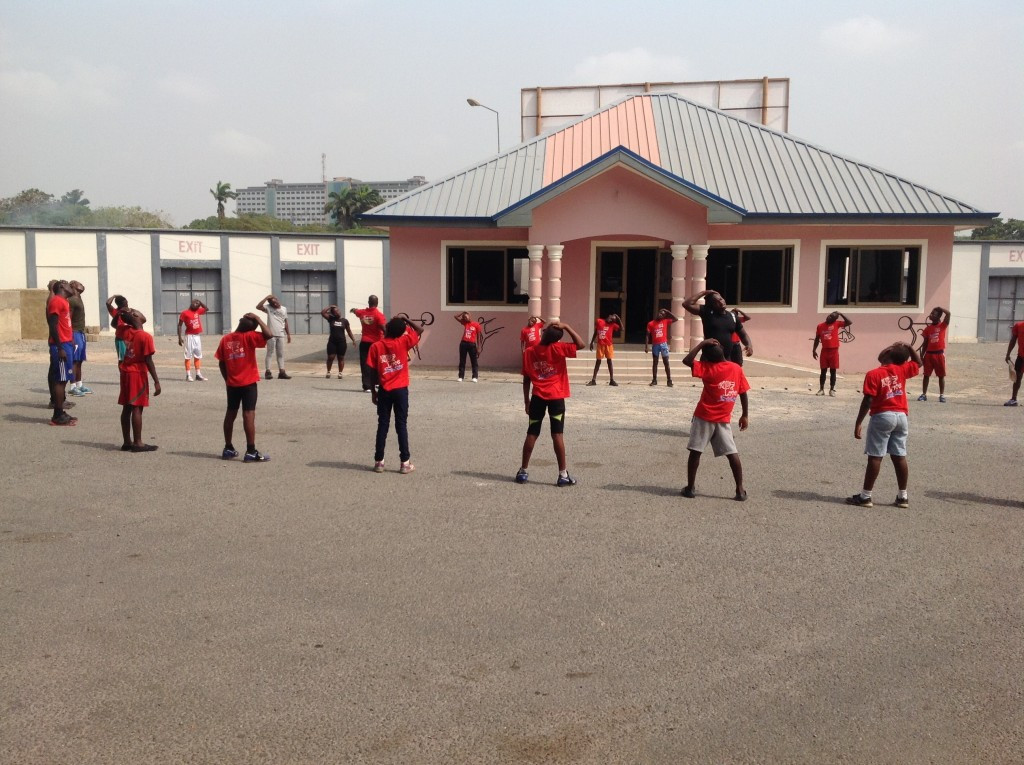 Youngsters in Ghana are put through their paces ©Brian Oliver