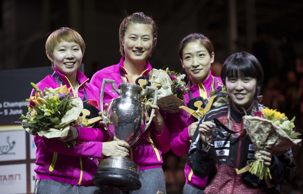China's Ding Ning, second left, headed the women's singles podium ©Getty Images