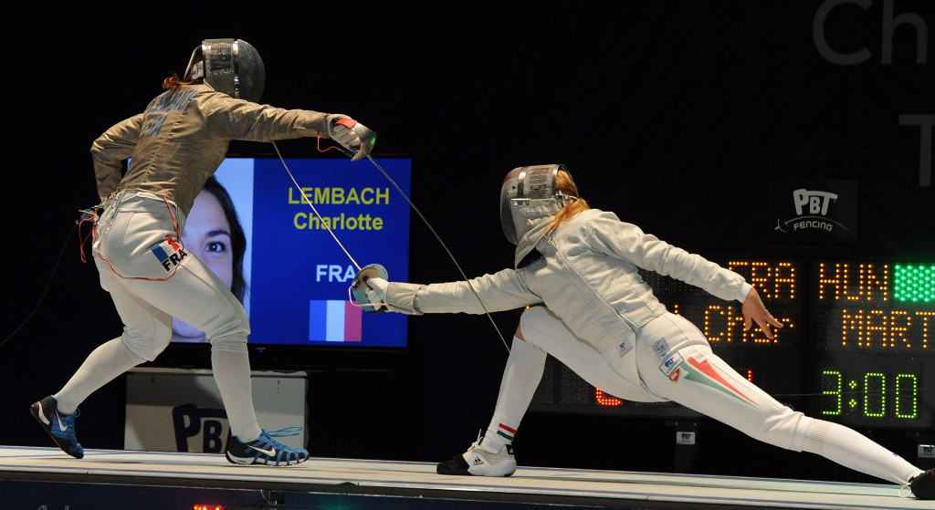 Charlotte Lembach of France, left, defeated Anna Marton, right, in the final ©Getty Images