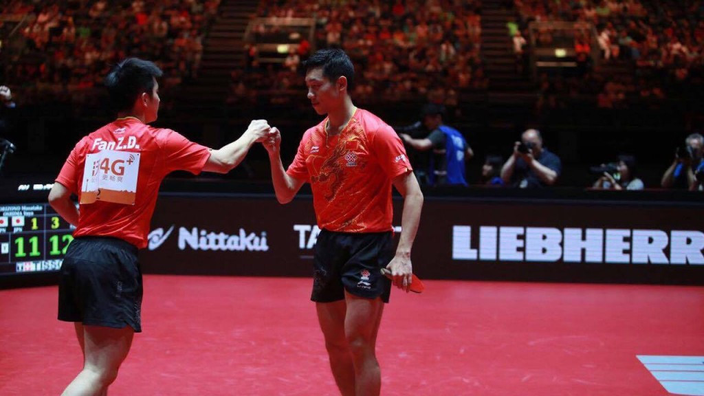 China's Fan Zhendong, left, and Xu Xin secured the men's doubles title today ©ITTF