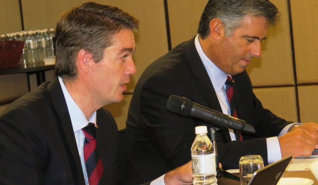 Gustavo Salazar, right, has stepped down from his BWF responsibilities ©BWF