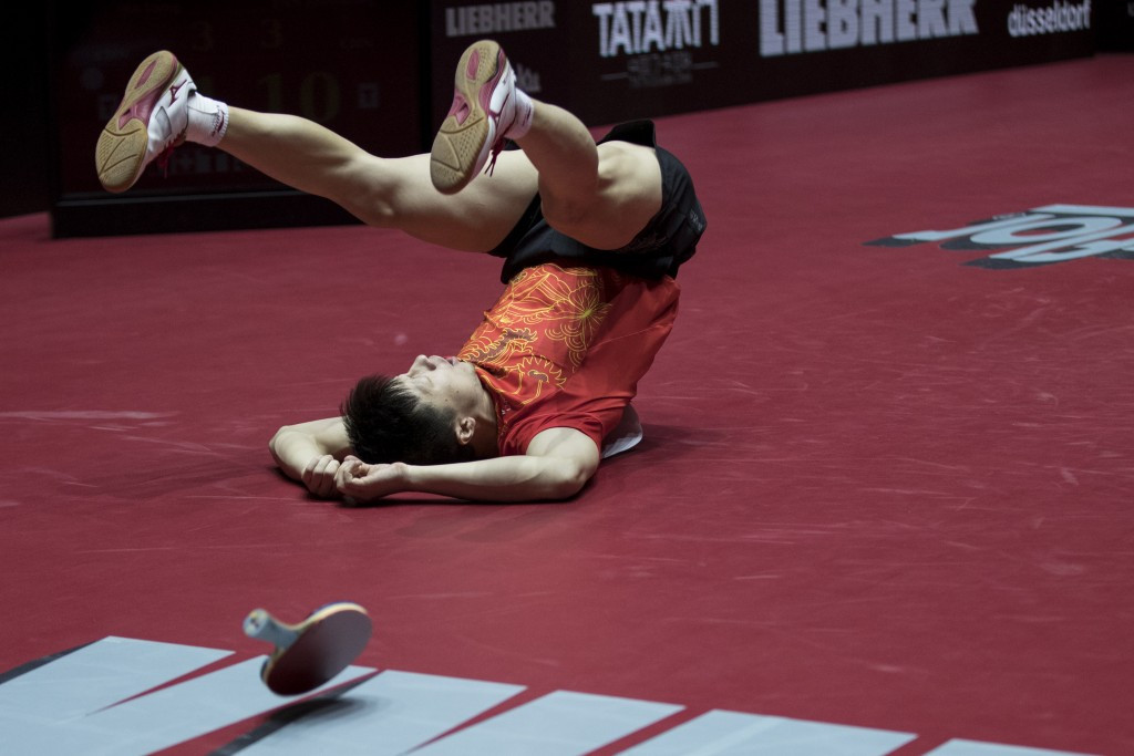 Ma Long celebrates after an epic victory at the World Table Tennis Championships ©Getty Images