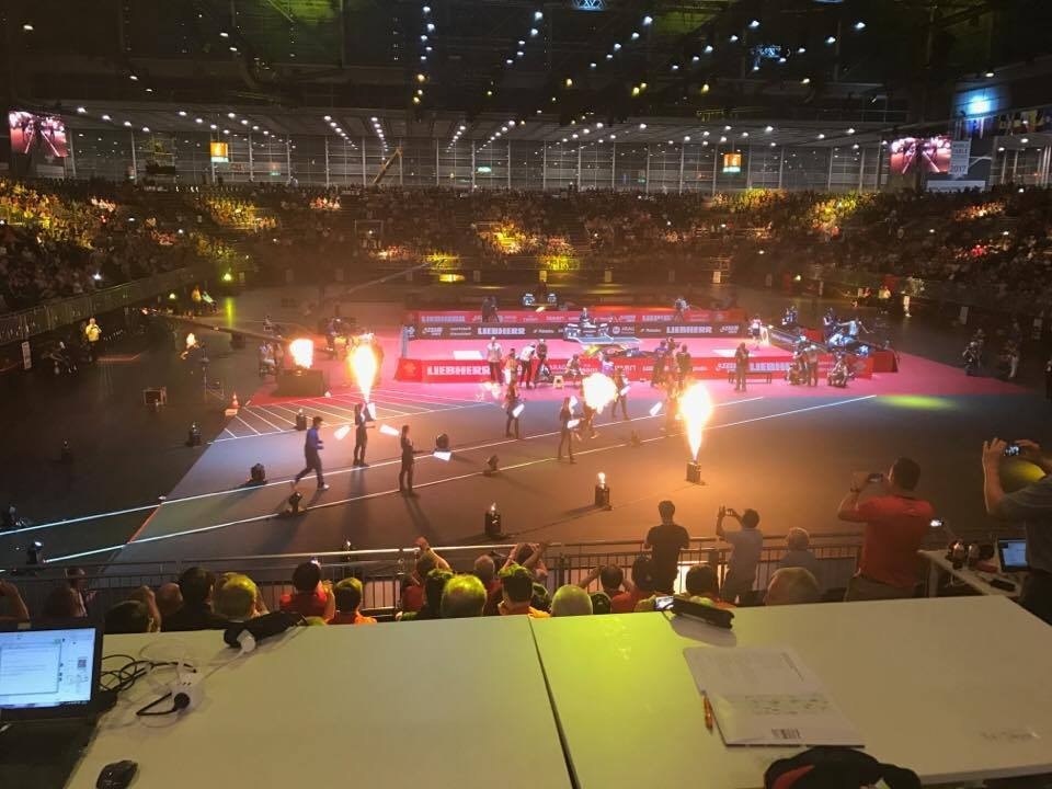 Players entered to capacity crowds during the ITTF World Championships in Düsseldorf ©ITG