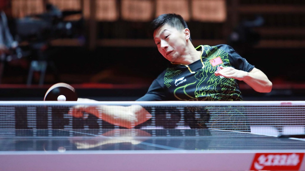 Ma Long plays a trademark forehand on the way to his World Championship success ©ITTF