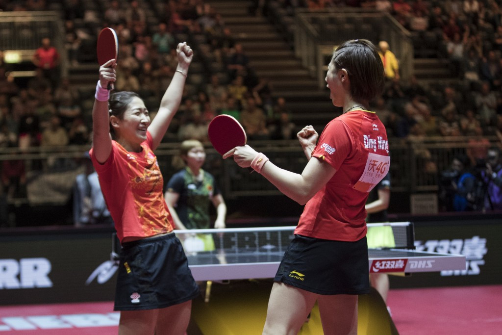 Liu Shiwen, left, and Ding Ning also won today in the women's doubles ©Getty Images
