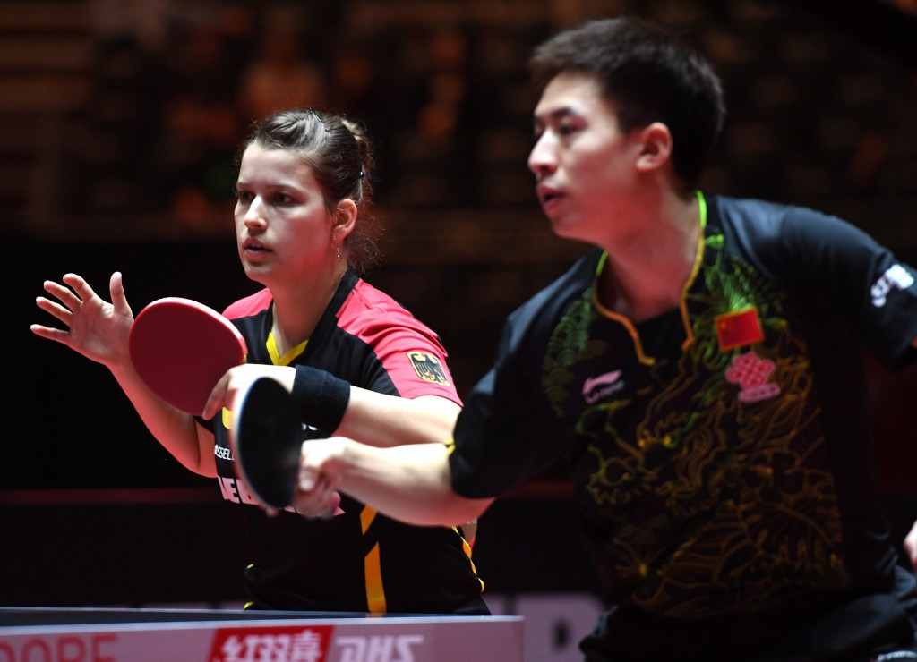 Petrissa Solja, left, won Germany's only medal of the ITTF World Championships with Chinese partner Fang Bo ©Getty Images
