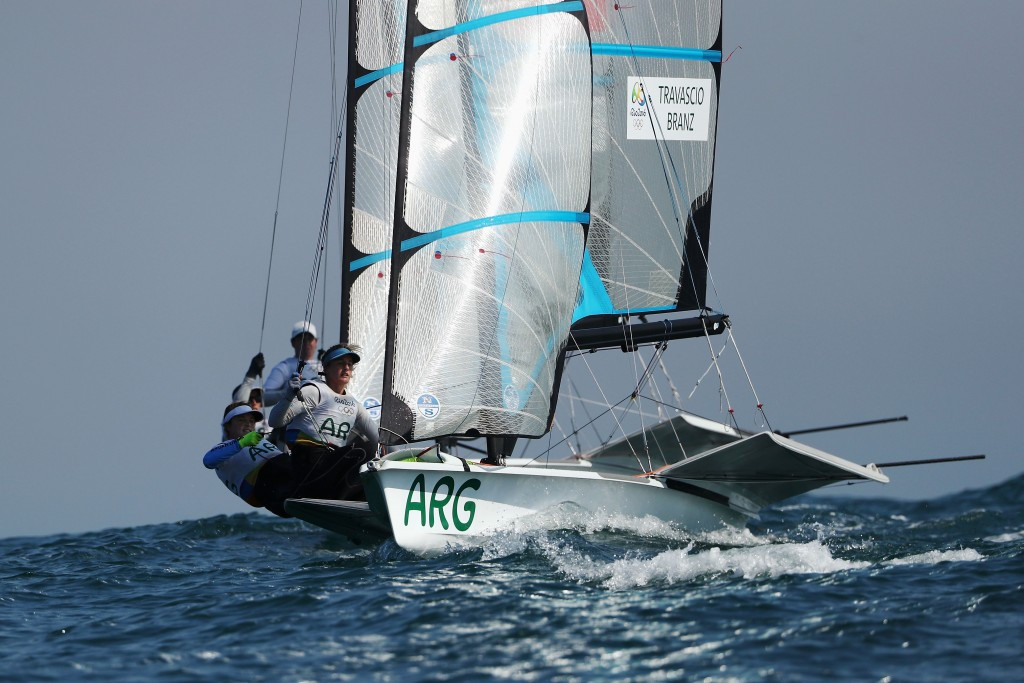 Argentinean duo hold 49erFX lead after day one of Sailing World Cup Final