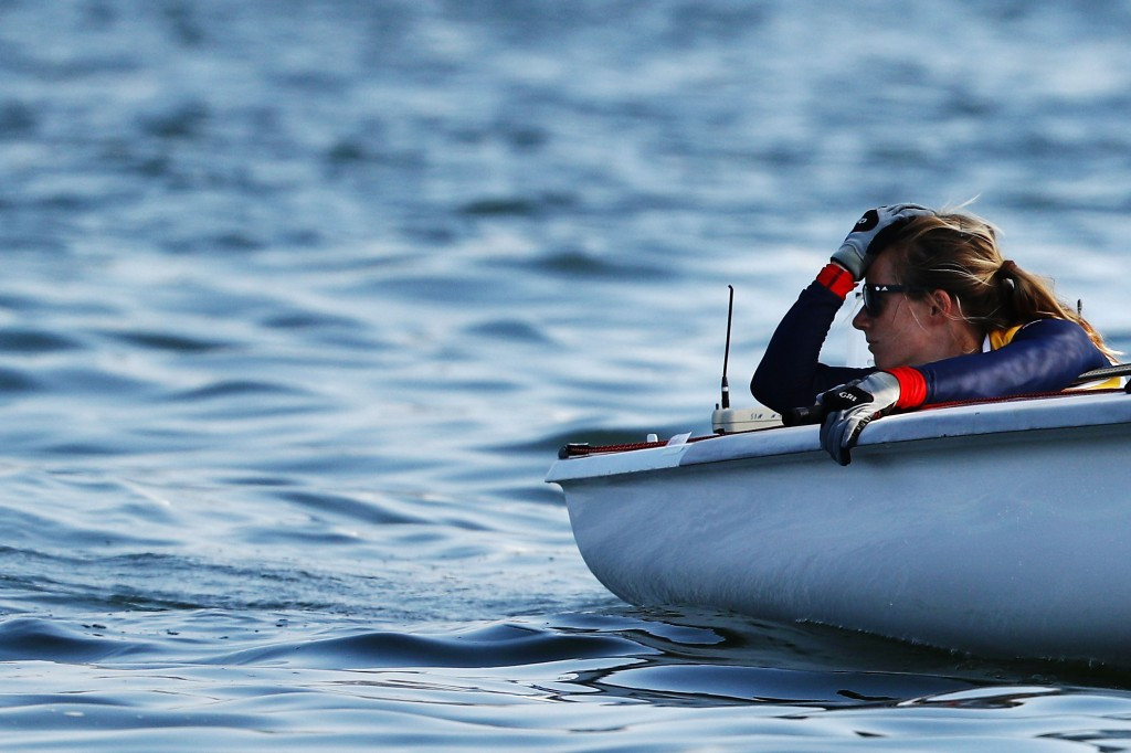 Hannah Mills, pictured, and partner Eilidh McIntyre won two races in the women's 470 ©Getty Images