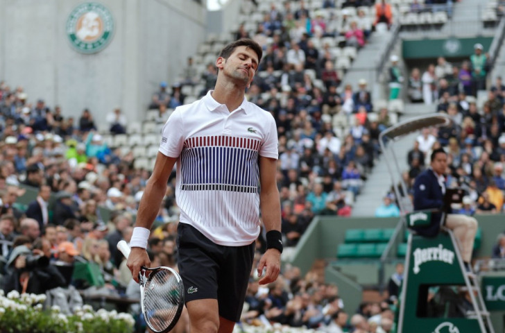 Novak Djokovic wishes himself anywhere but the Suzanne Lenglen court during an excruciating quarter-fnal defeat by Austria's Dominic Thiem which saw him lost the third set 6-0 ©Getty Images