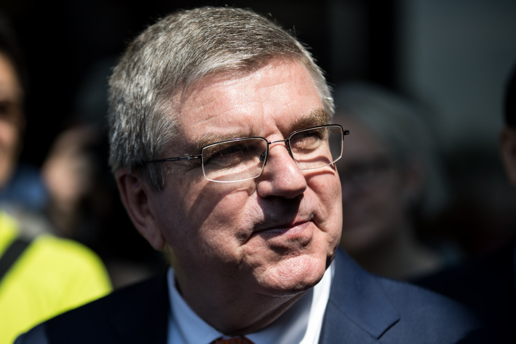 IOC President Thomas Bach and its longest serving member Richard Pound appear to disagree over whether a joint awarding for 2024 and 2028 can go ahead without an Olympic Charter change ©Getty Images