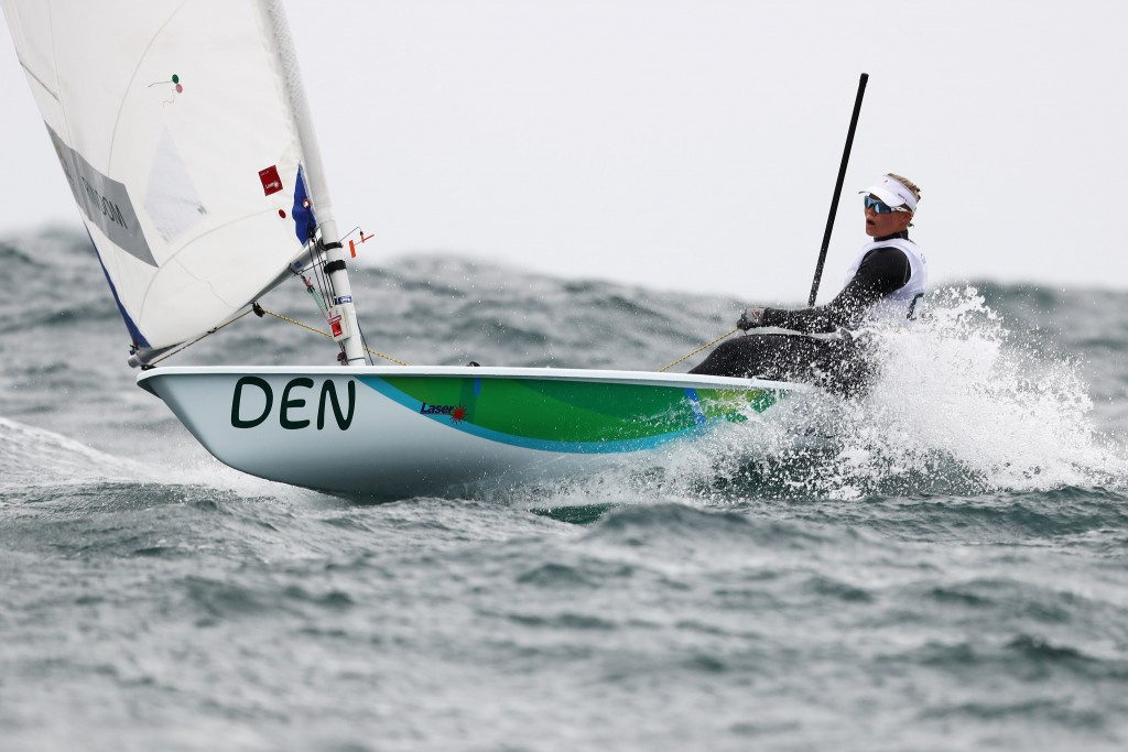 Anne-Marie Rindom is narrowly in second place in the women's laser radial ©Getty Images
