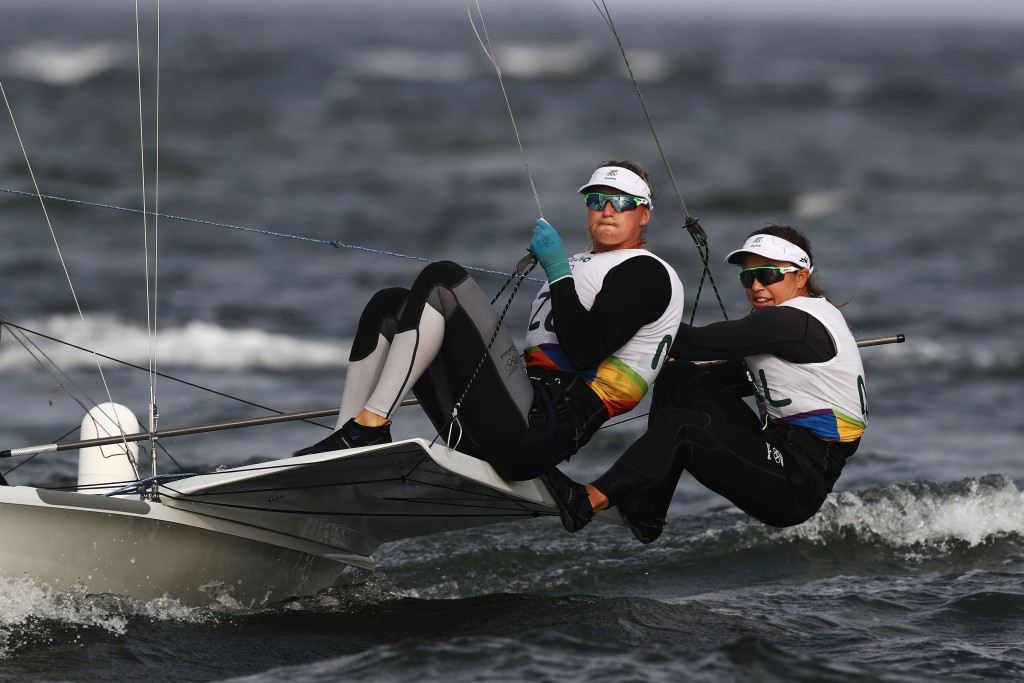 Rio 2016 Olympic gold medallists Martine Grael, left, and Kahena Kunze, right, lead the women's 49er ©Getty Images