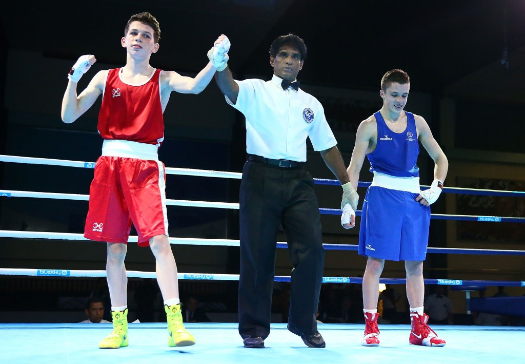 Stephen McKenna, left, won boxing gold at Samoa 2015 for Northern Ireland ©Getty Images