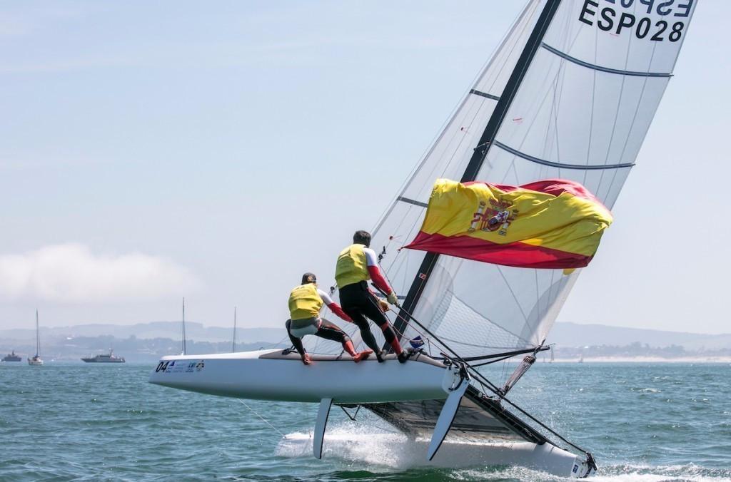 Spanish duo Fernando Echavarri and Tara Pacheco won the Nacra 17 gold medal ©World Sailing