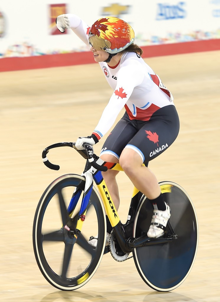 Monique Sullivan completed a gold medal hatrick in the track cycling sprint events ©Getty Images