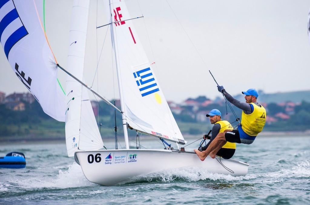 Greek duo Panagiotis Mantis and Pavlos Kagialis won the men's 470 title ©World Sailing