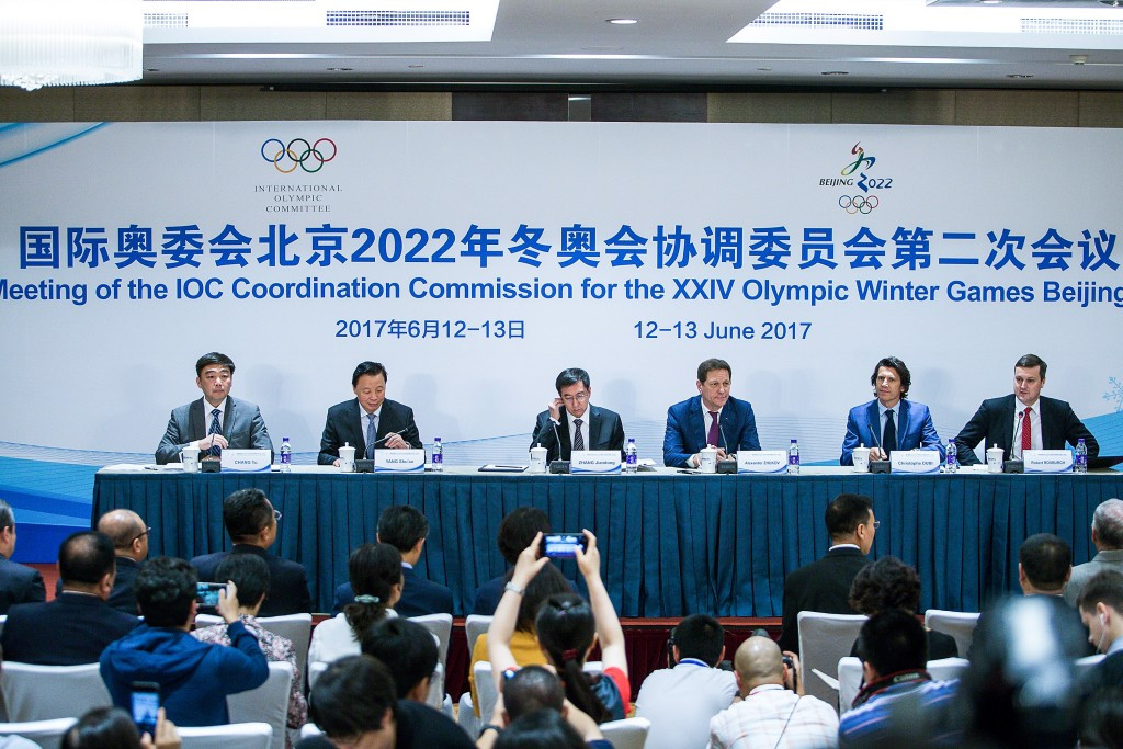The appointment of Yang Yang was announced during the closing press conference of the IOC Coordination Commission visit to Beijing ©Getty Images