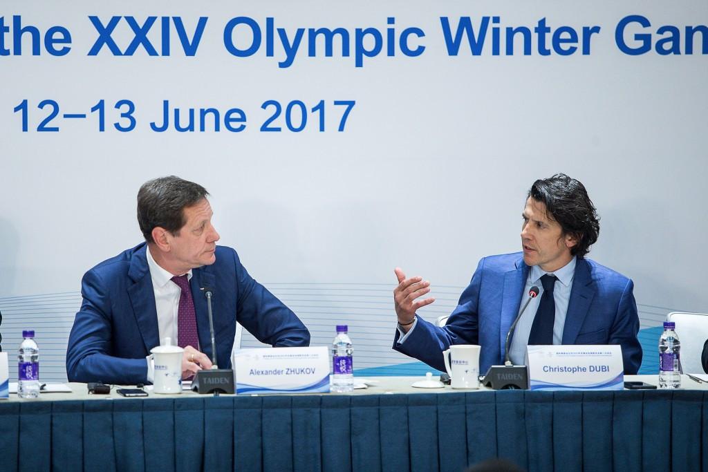 Both Alexander Zhukov and Christophe Dubi praised progress at the Sliding Centre ©Getty Images