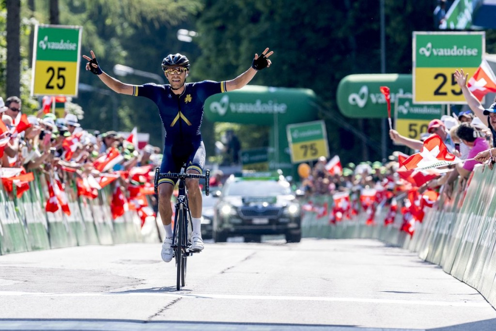 Warbasse wins Swiss 4th stage, Caruso in yellow