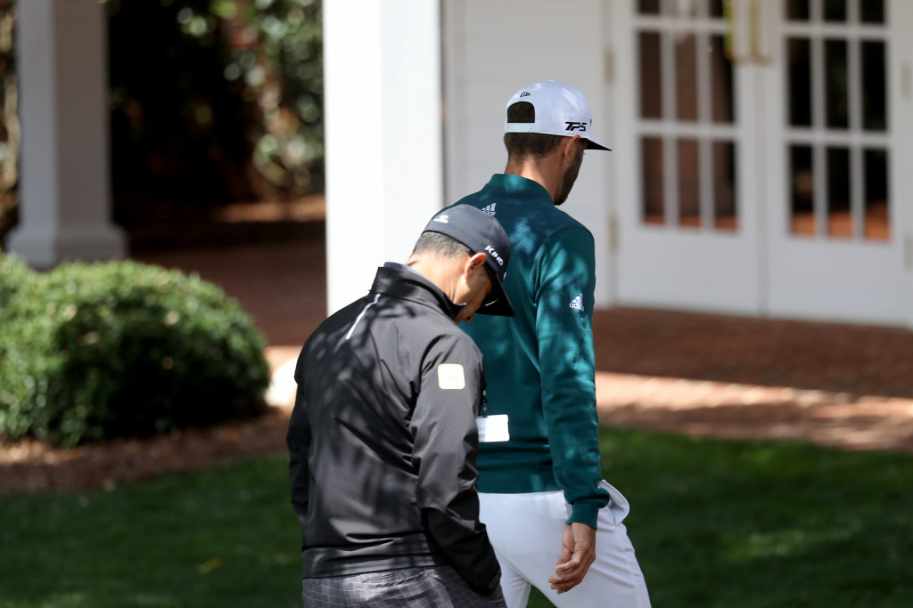 Dustin Johnson, right, was forced to withdraw from the Masters in April after sustaining a back injury ©Getty Images
