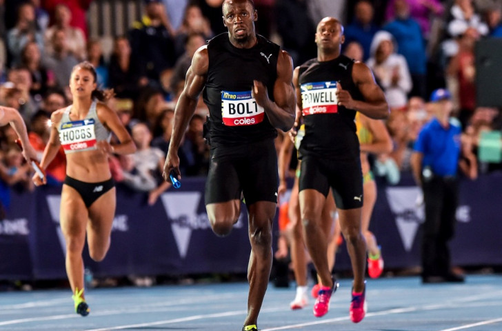Usain Bolt taking part in a mixed relay at the Nitro Athletics event held at Melbourne in February ©Getty Images