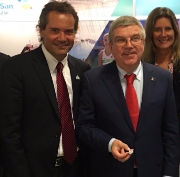 Neven Ilic, left, alongside IOC President Thomas Bach ©Twitter