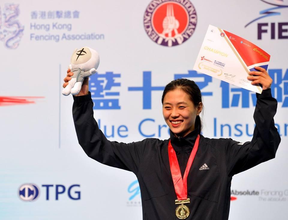 Kim Ji-yeon won an all-South Korean women's individual sabre final ©FIE/Facebook/Trifiletti/Bizzi