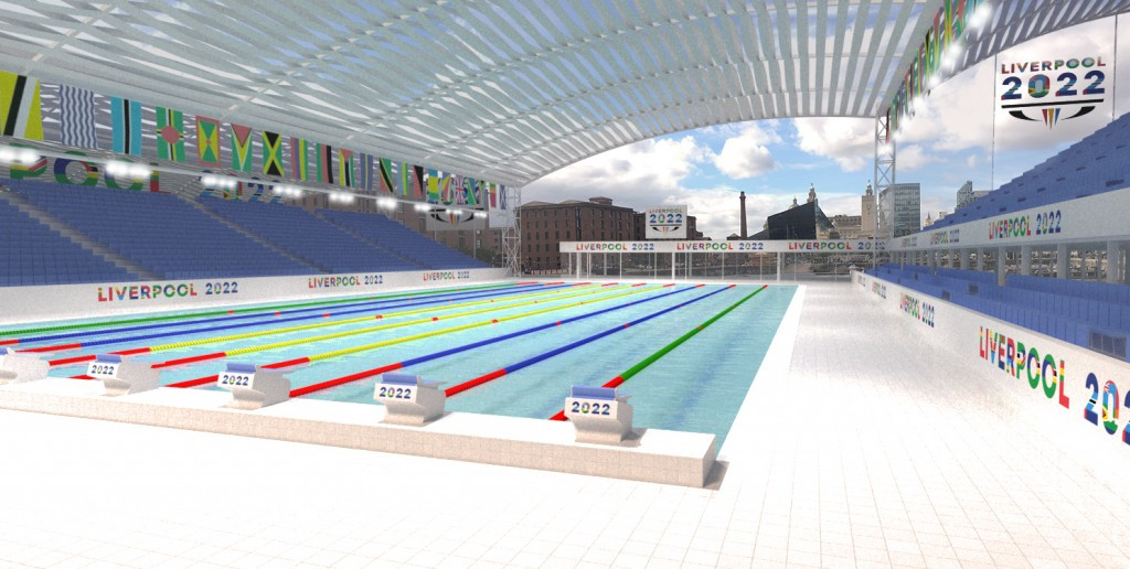 Liverpool is proposing to host swimming at a new 50m pool within the city centre dock system ©Liverpool 2022