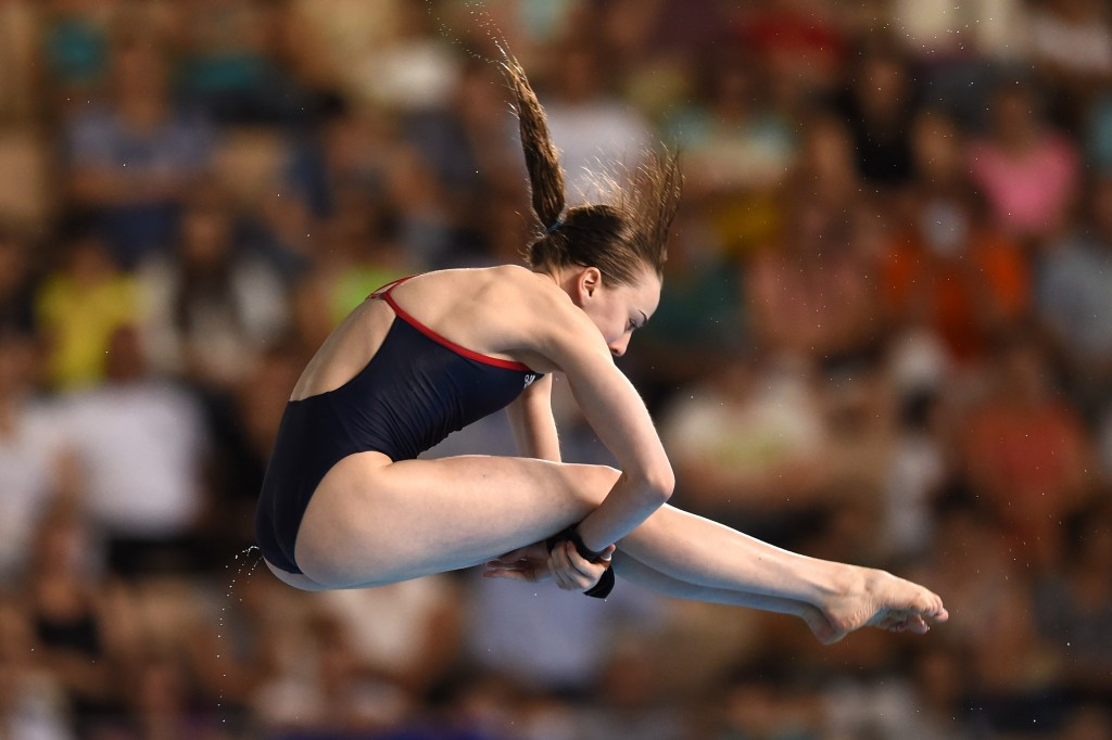 Great Britain's Lois Toulson, pictured, partnered Matthew Lee to victory in the mixed synchronised 10m platform event ©Getty Images