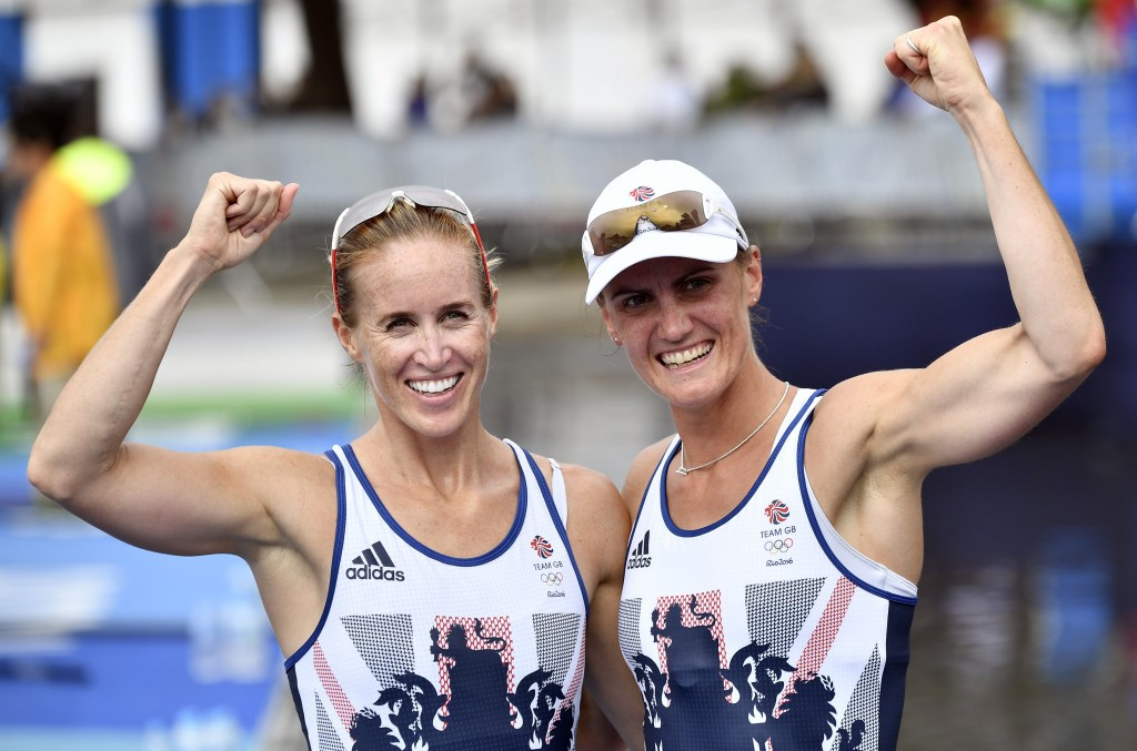 Heather Stanning, right, and her rowing partner Helen Glover, left, became Great Britain's first female rowers to win back-to-back Olympic golds when they retained the coxless pairs title in Rio de Janeiro ©Getty Images