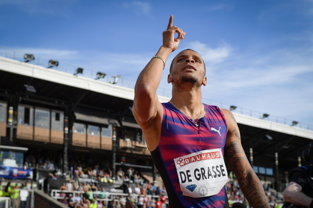 Andre De Grasse celebrates a 9.69 second 100 metres in Stockholm ©Getty Images