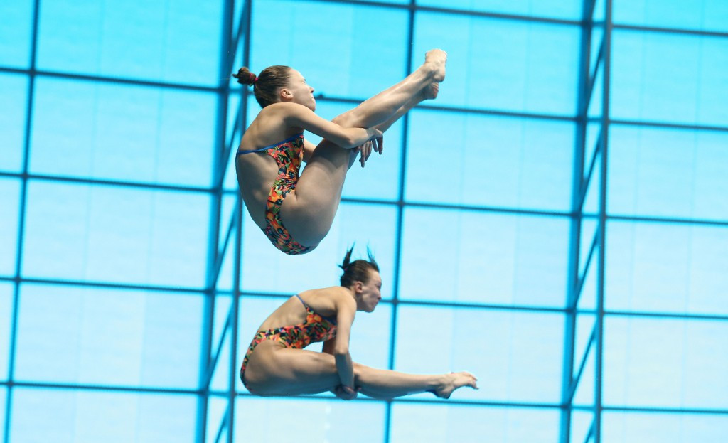 Russia's Nadezhda Bazhina and Kristina Ilinykh claimed top honours in the women's 3m synchronised event ©Getty Images